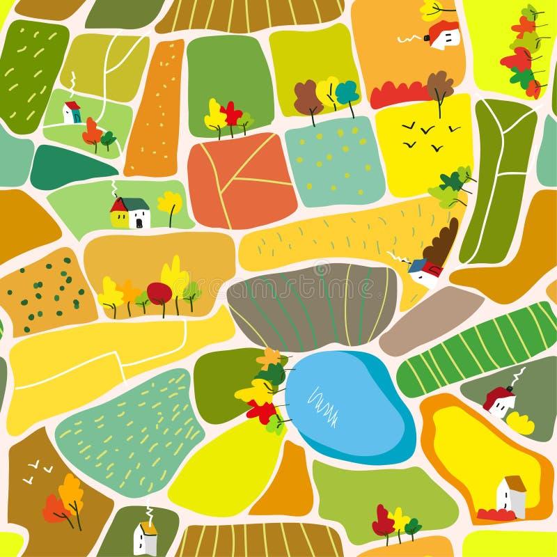 Herbstlandschaftsnahtloses Muster mit Häusern, Bäumen und See, Tourismuskarte Auch im corel abgehobenen Betrag lizenzfreie abbildung