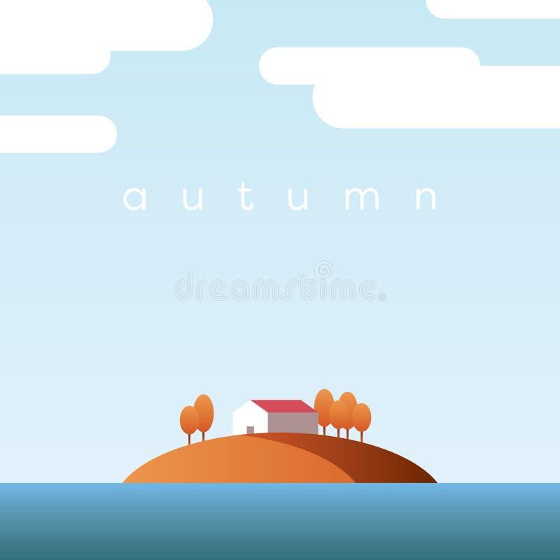 Herbstlandschaftsvektorkonzept mit Seehaus auf einer Insel und Orangenbäumen mit Laub im klaren Fallhimmel stock abbildung