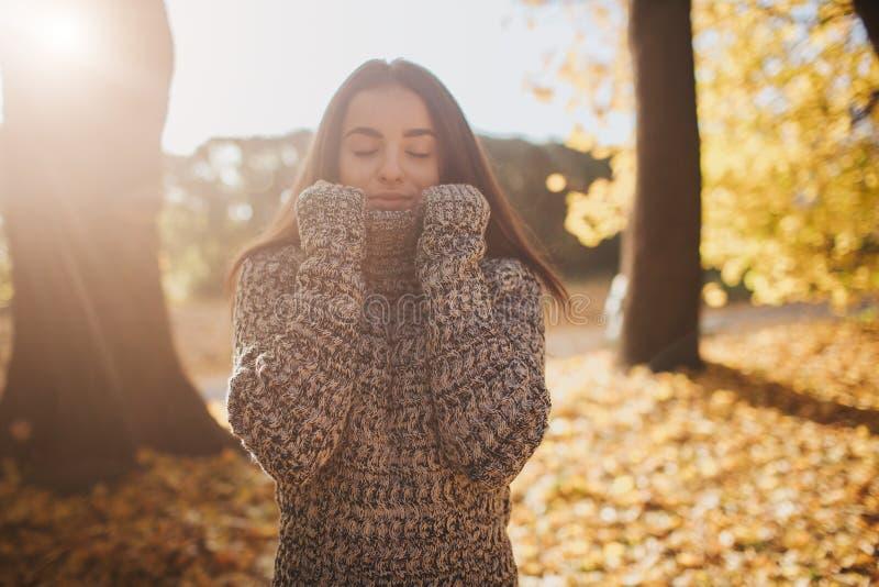 Herbstlaub, der auf glückliche junge Frau im Waldporträt des sehr schönen Mädchens im Fallpark fällt stockfotografie