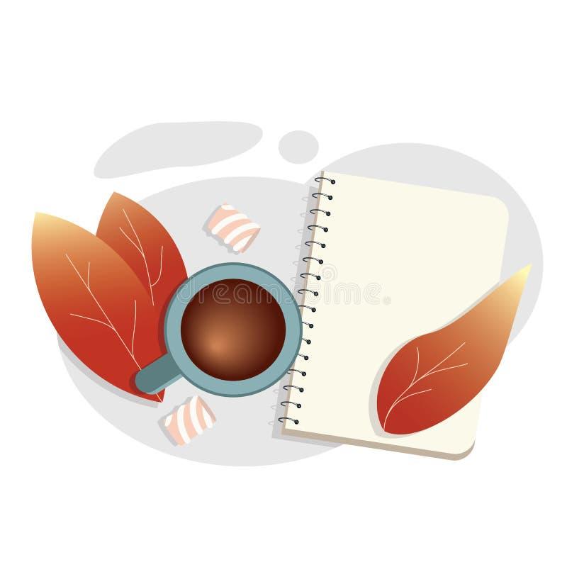 Herbstlaub und leeres Notizbuch vektor abbildung