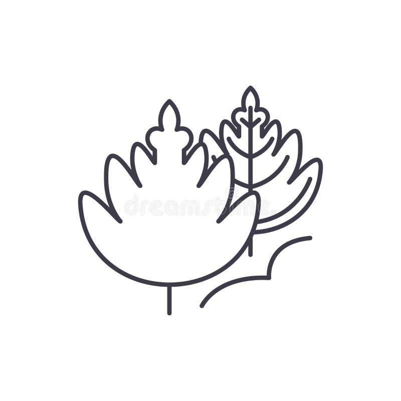 Herbstlaub zeichnet Ikonenkonzept Lineare Illustration des Herbstlaubvektors, Symbol, Zeichen vektor abbildung