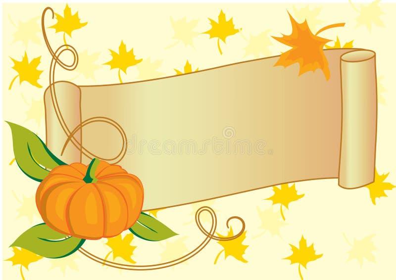 Herbstliche Fahne mit Kürbis für Danksagungstag stock abbildung