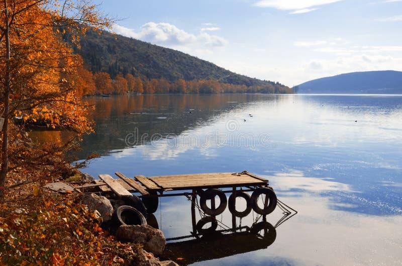 Herbstliche Landschaft im See lizenzfreies stockbild