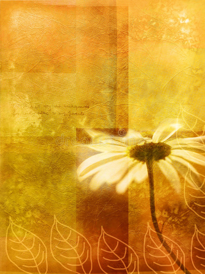 Herbstlicher Hintergrund der alten Wand mit Gänseblümchen lizenzfreie abbildung