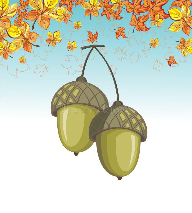 Herbstlicher Hintergrund mit Eichel vektor abbildung