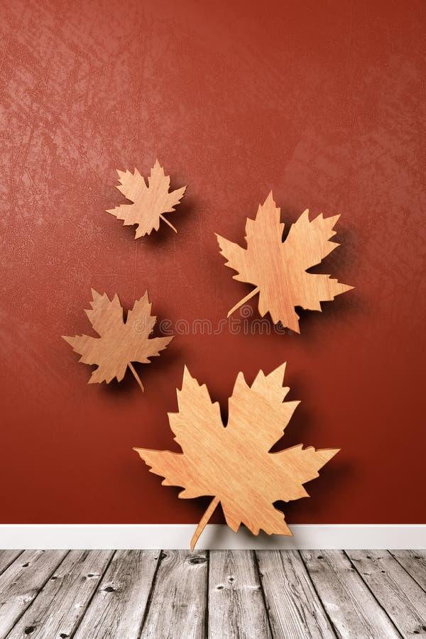 Herbstliches Blatt-Symbol im Raum lizenzfreie abbildung
