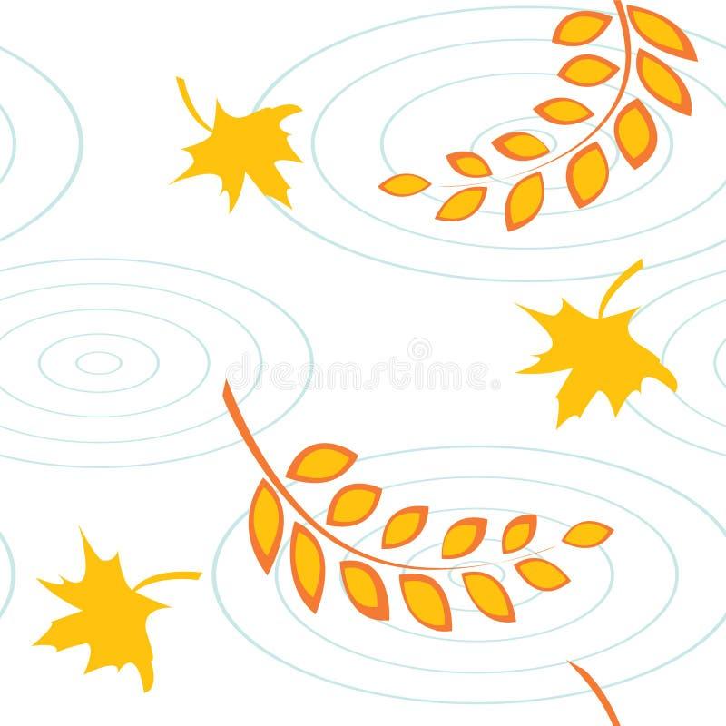 Herbstliches nahtloses Muster mit Blättern und Pfützen stock abbildung