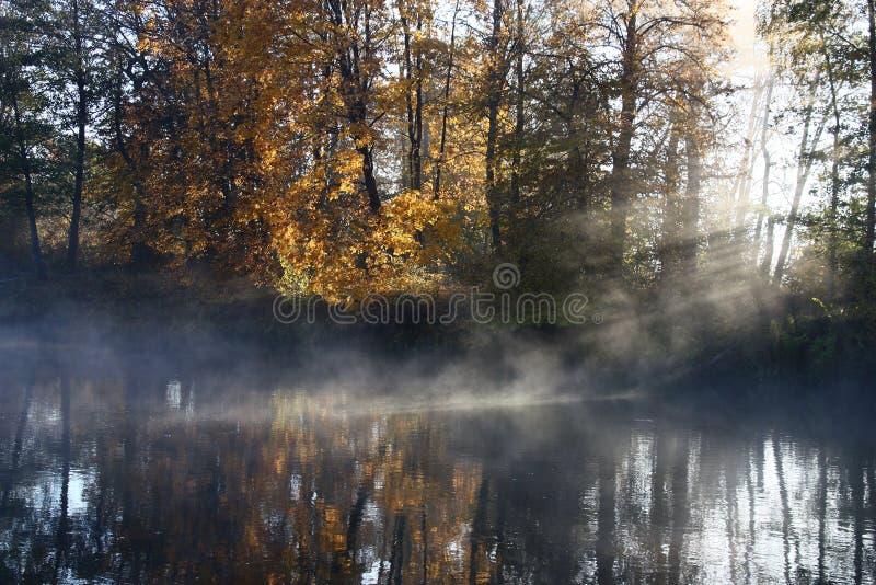 Herbstmorgen auf dem Fluss lizenzfreie stockbilder