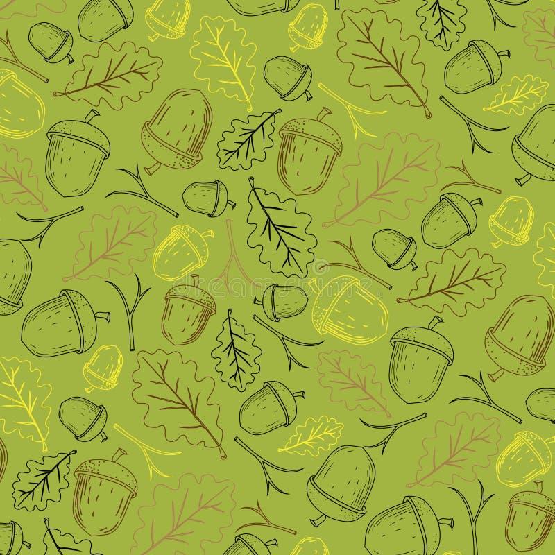 Herbstmuster, mit dem Bild von Eicheln und von Blättern einer Eiche auf einem olivgrünen Hintergrund lizenzfreies stockfoto