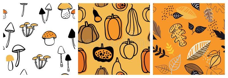 Herbstmustersatz Vervollkommnen Sie für Tapete, Geschenkpapier, Musterfüllen, Webseitenhintergrund, Herbstgrußkarten Fall stock abbildung