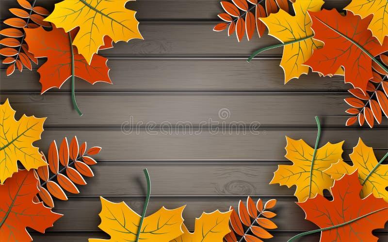 Herbstpapierhintergrund, bunter Baum verlässt auf hölzernem Hintergrund, Design für Herbstsaisonfahne, Plakat oder Danksagungstag vektor abbildung