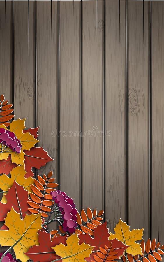 Herbstpapierhintergrund mit buntem Baum verlässt auf hölzernem Hintergrund, Design für die Herbstsaisonfahne, Plakat oder Danksag vektor abbildung