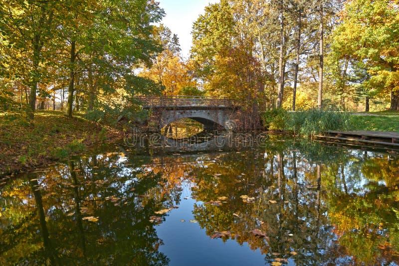 Herbstpark - ein Teich mit einer malerischen Brücke stockbilder