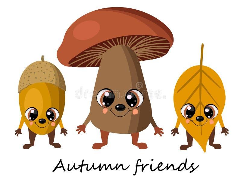 Herbstpilzpilz, Eicheneichel und gelbes Blatt vom Baum Lustige Charaktere der netten Karikatur Verzierung von Herbstschalen und lizenzfreie abbildung