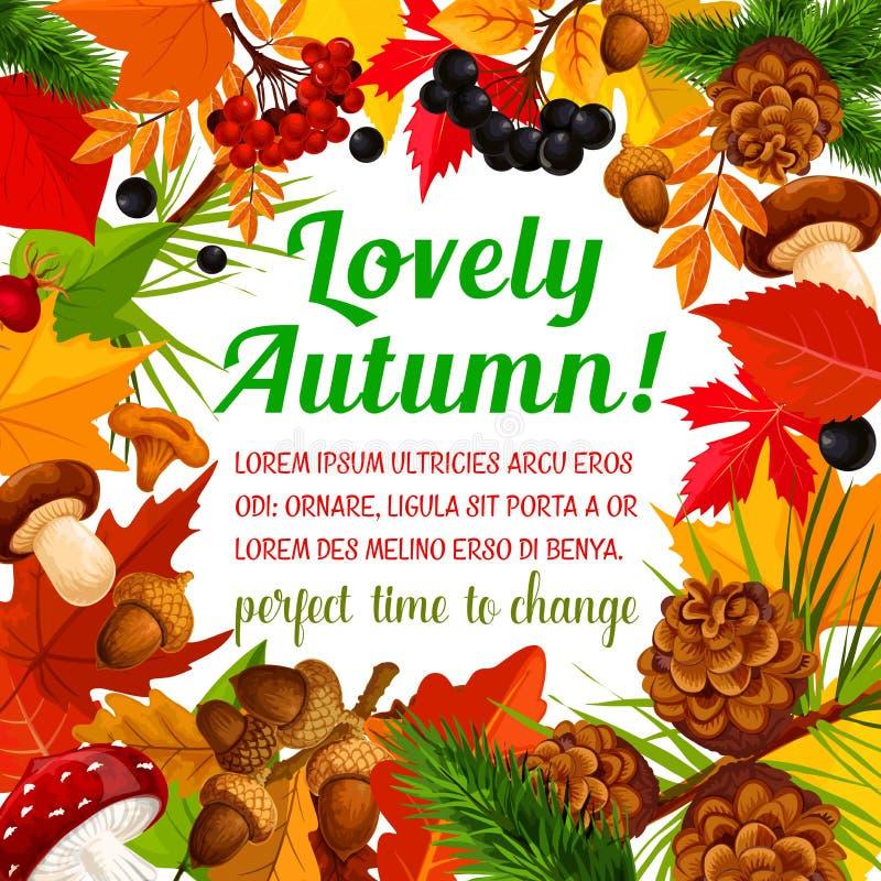 Herbstplakatschablone mit Rahmen der Fallnatur lizenzfreie abbildung