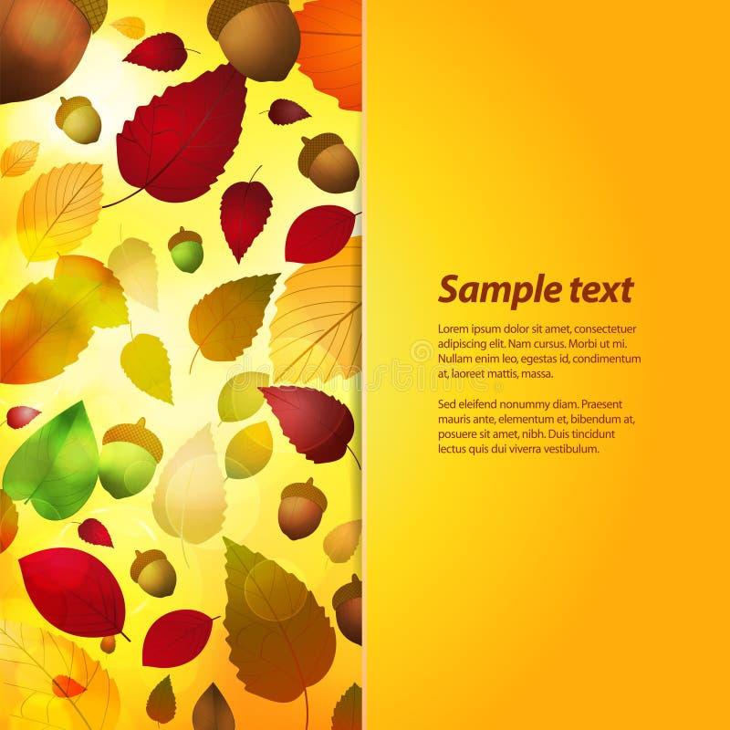 Herbstplattenhintergrund mit Beispieltext vektor abbildung