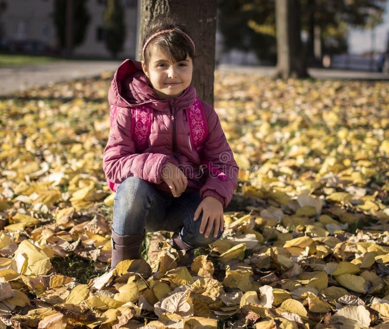 Herbstporträt des kleinen Mädchens lizenzfreies stockbild