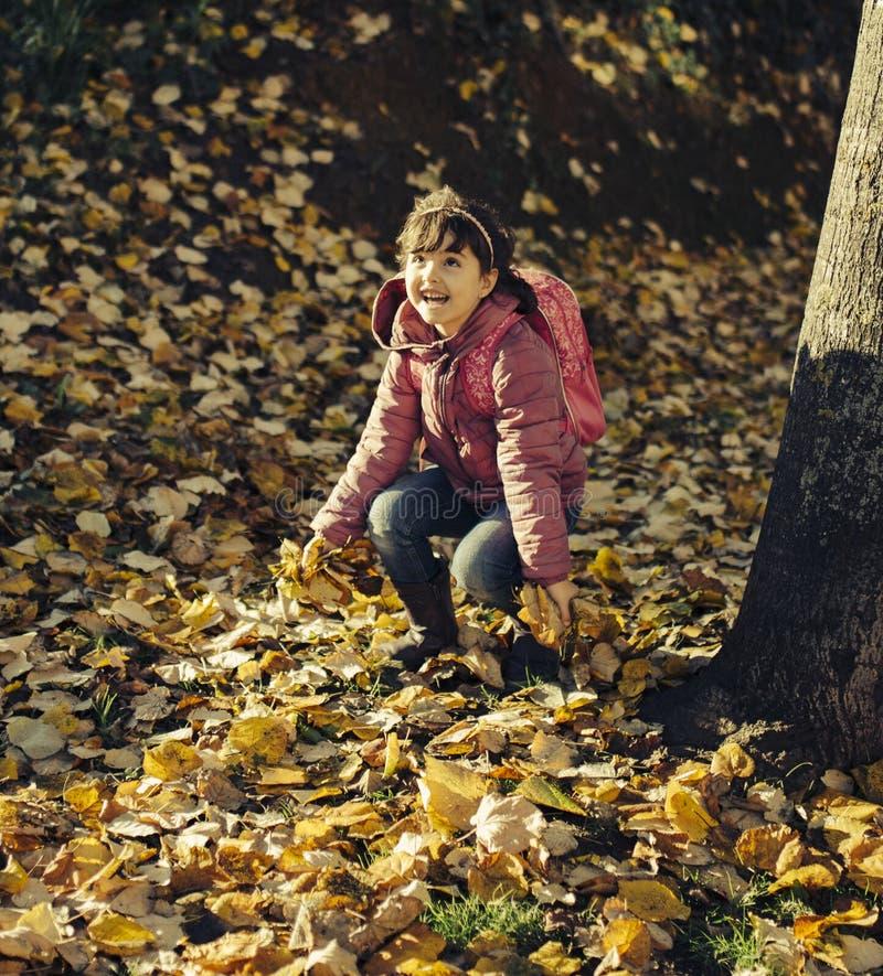 Herbstporträt des kleinen Mädchens stockfoto