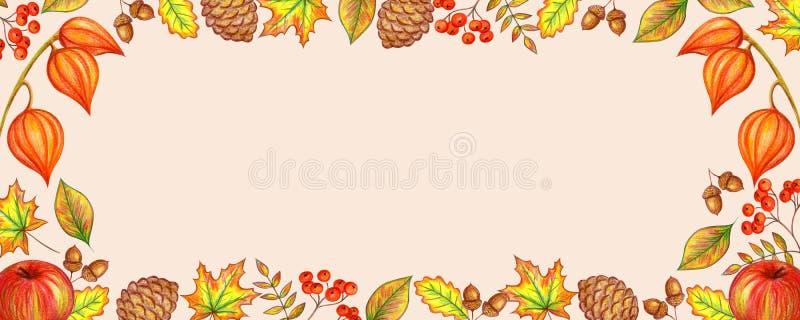Herbstrahmen von Blättern von Beeren stock abbildung