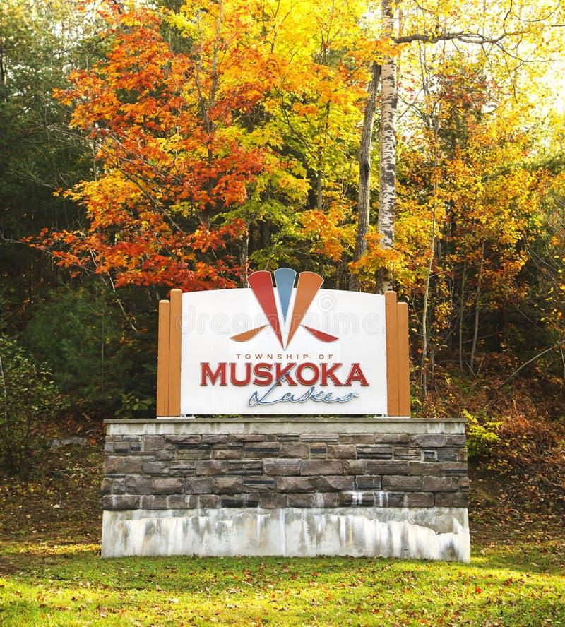 Herbstsaison in den Muskoka Seen, Ontario, Kanada lizenzfreie stockfotos