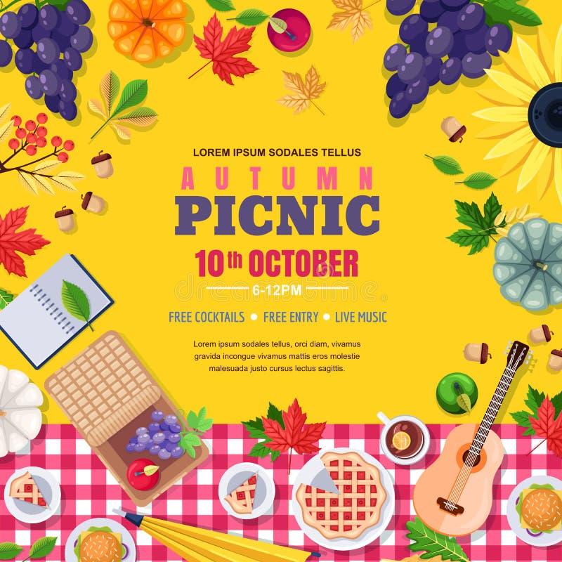 Herbstsaisonpicknick-Quadratrahmen Vector Plakat oder Fahne mit Herbstlaub, Lebensmittel Erntedankfestillustration stock abbildung