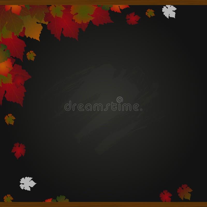 Herbstschwarzbrett und Blatthintergrund lizenzfreie abbildung
