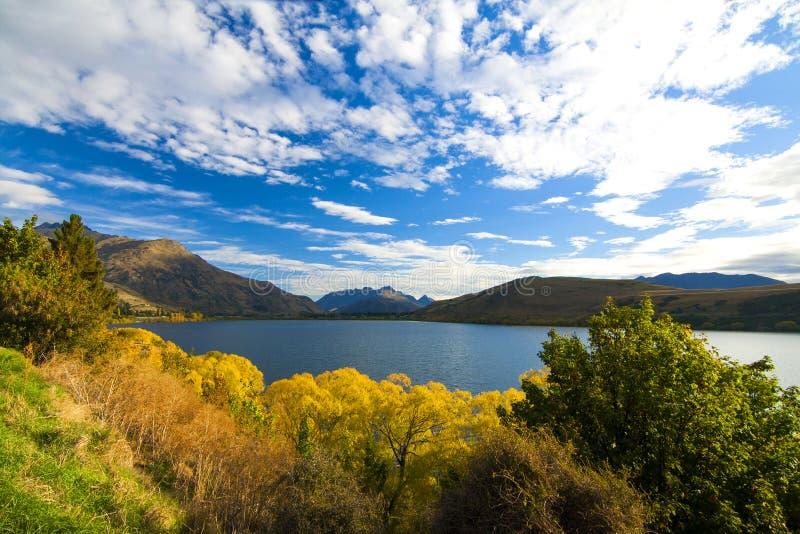 Herbstseeblick Hayes, bunte Baumblätter und trockene Hügel von Otago-Region, Neuseeland Arrowton nahe Queenstown lizenzfreie stockfotografie