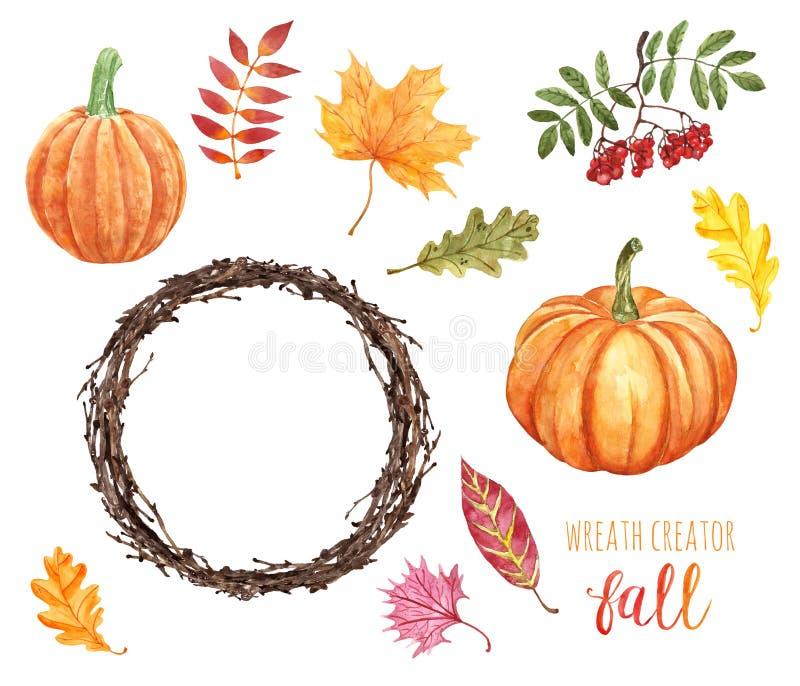 Herbstset für Wasserfarben für Krändedekartine Handgemalte Ornagekürbis, Kränze, Baumblätter und Beeren, isoliert lizenzfreie abbildung