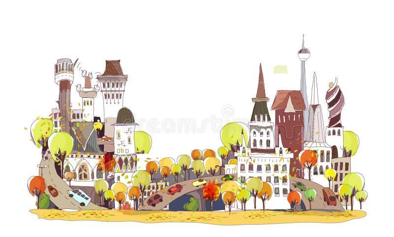 Herbststadthintergrund vektor abbildung