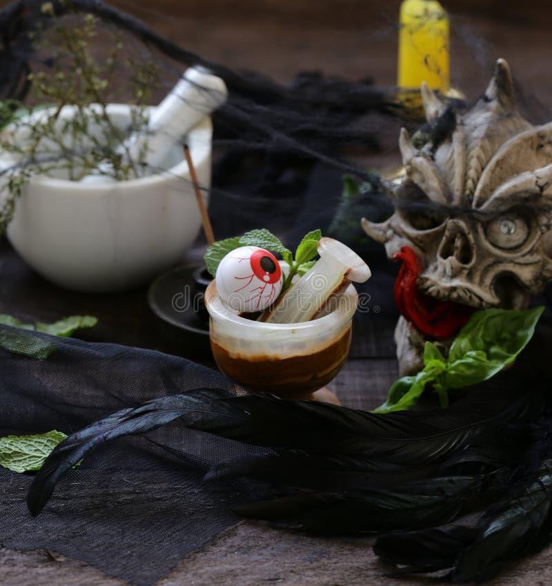 Herbststillleben für Halloween lizenzfreies stockbild