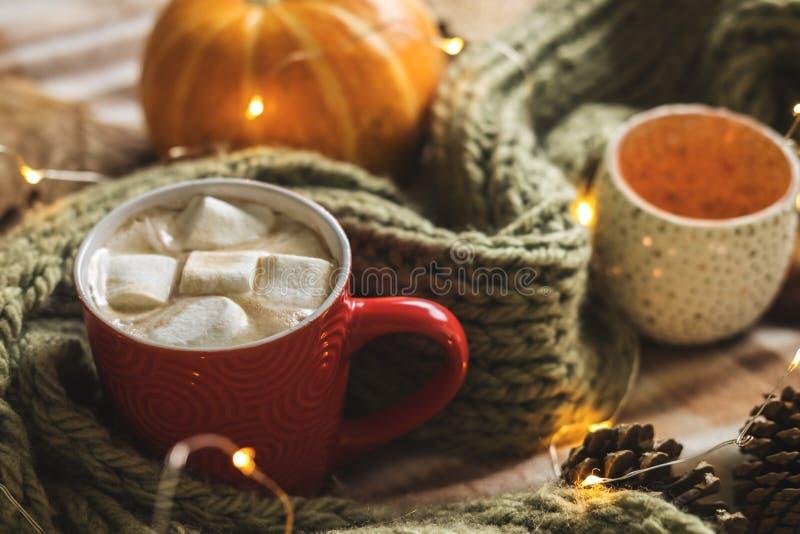 Herbststillleben vom Kürbis, von den Blättern, von den Kiefernkegeln, von den Kerzen, vom Schal, vom roten Becher Kakao, vom Kaff lizenzfreies stockfoto