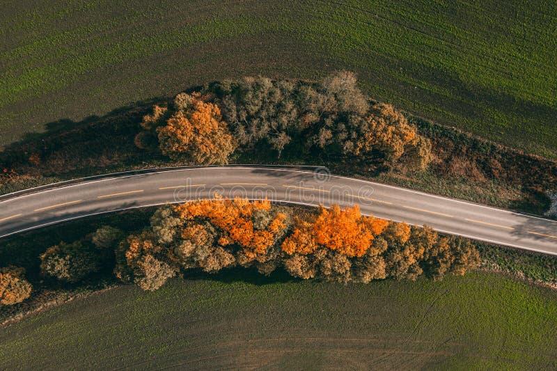 Herbststraßen - erstaunliche Gesamtlänge stockfotografie