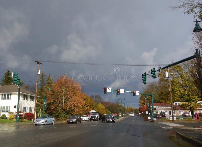 Herbststraßenbild Westbrook Maines USA am 31. Oktober 2018 lizenzfreies stockbild