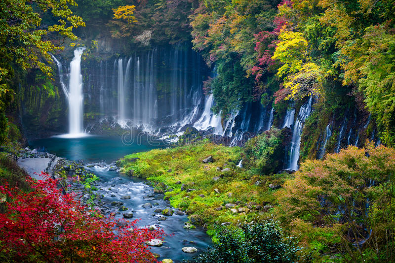 Herbstszene von Shiraito-Wasserfall lizenzfreies stockfoto
