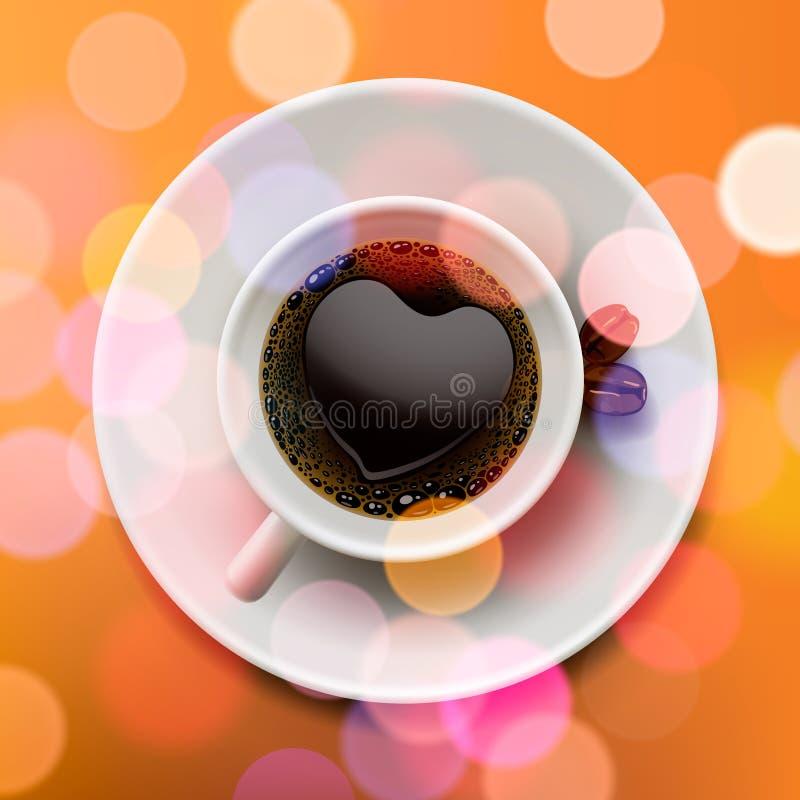 Herbsttasse kaffee, unscharfer Hintergrund vektor abbildung