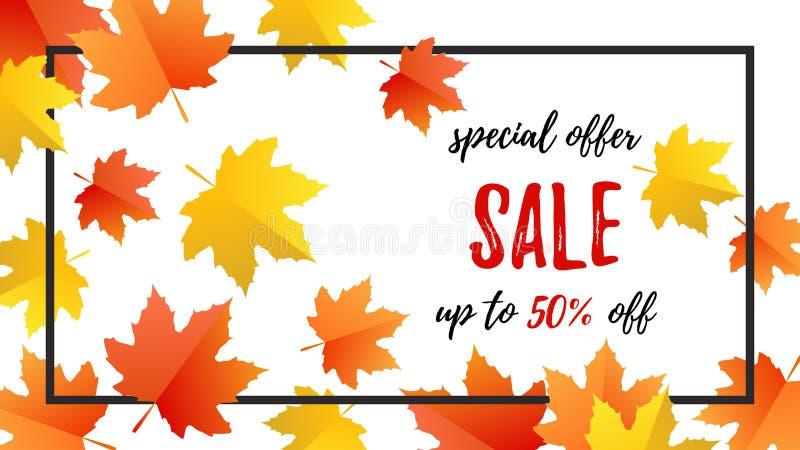Herbsttypographieplakat Sonderangebot-Verkauf mit bunten Blättern lizenzfreie abbildung