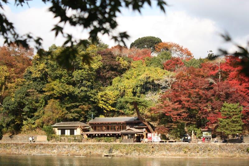Herbsturlaub nahe Ryokan lizenzfreie stockbilder