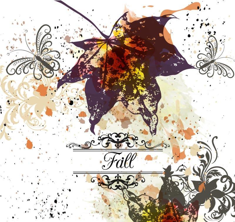 Herbstvektorhintergrund mit Ahornblättern stock abbildung
