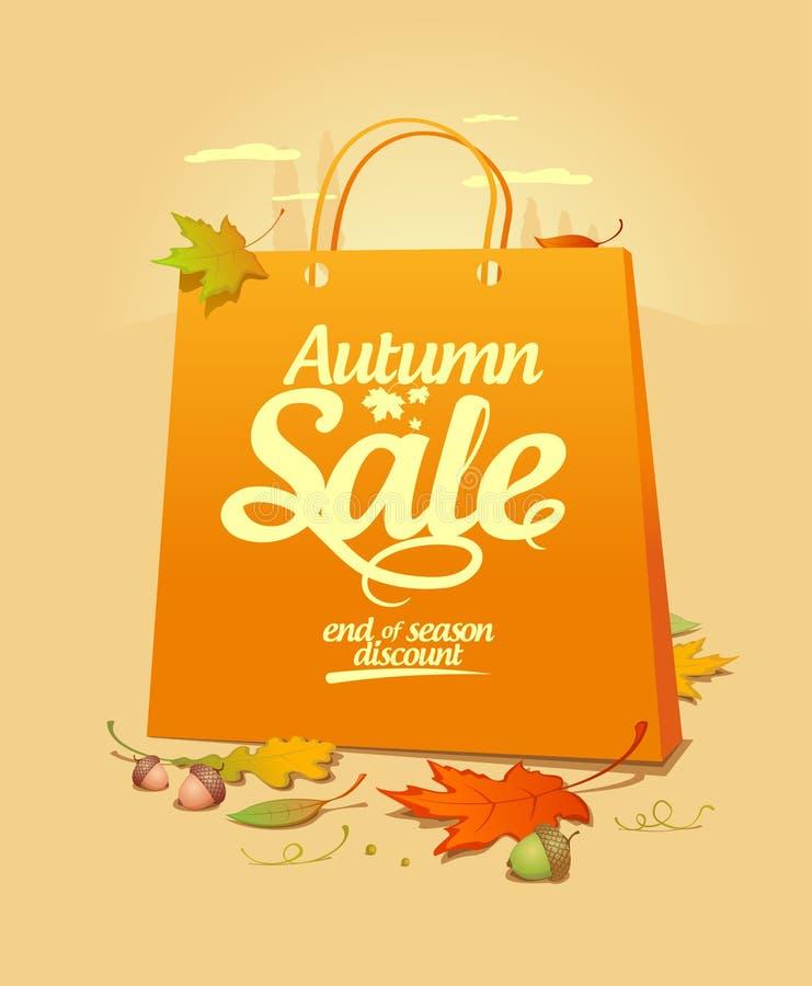 Herbstverkaufs-Auslegungschablone. stock abbildung