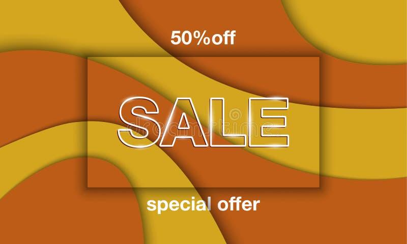 Herbstverkaufs-Fahnenschablone Buchstaben des weißen Verkaufs mit Prägungsrahmen des Schattens auf gelbem und orange Papier schni stock abbildung