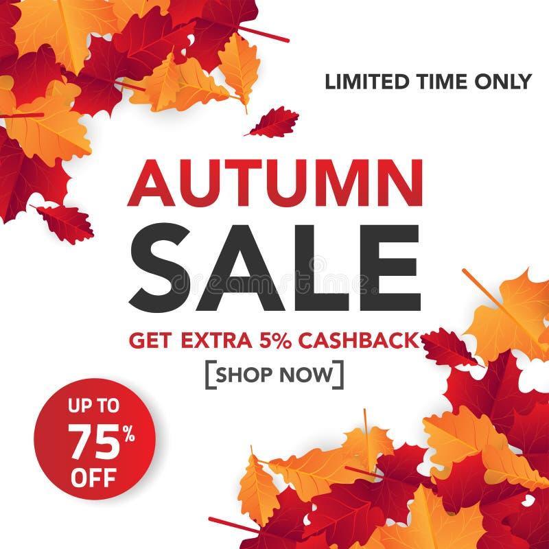 Herbstverkaufs-Fahnenschablone mit Blättern, Fall verlässt für Einkaufsverkauf Fahnendesign Plakat, Karte, Aufkleber, Netzfahne V stockfotografie
