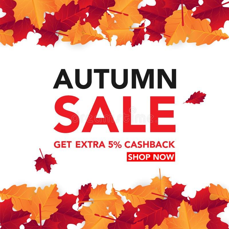 Herbstverkaufs-Fahnenschablone mit Blättern, Fall verlässt für Einkaufsverkauf Fahnendesign Plakat, Karte, Aufkleber, Netzfahne V stockfoto