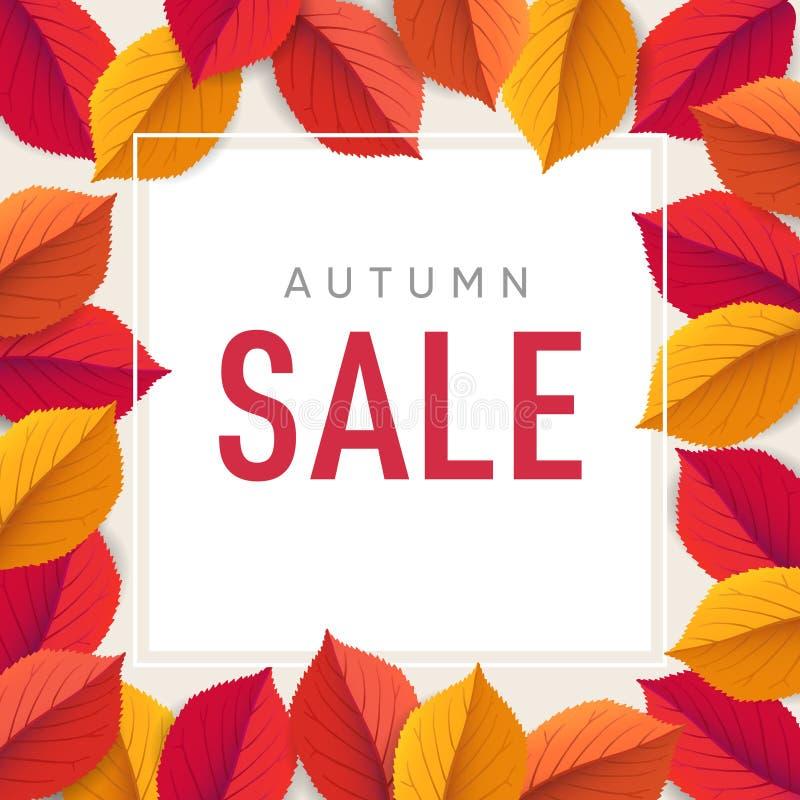Herbstverkaufs-Fliegerschablone Helle bunte Fall-Blätter Plakat, Karte, Aufkleber, Netzfahne Saisondanksagungsdesign stock abbildung
