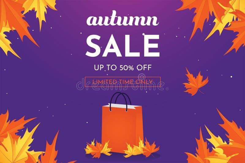 Herbstverkaufs-Rabattangebot bis 50 Prozent heruntergesetzt mit Eichenblättern, Fahne und Hintergrundvektorillustration lizenzfreie abbildung