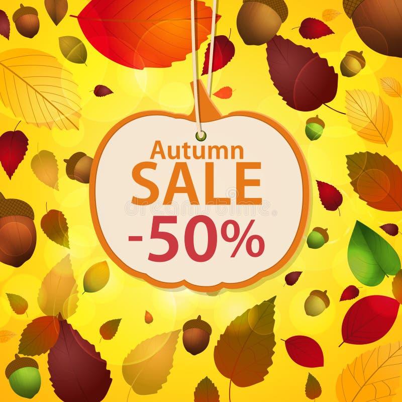 Herbstverkaufsaufkleber und Blatthintergrund vektor abbildung