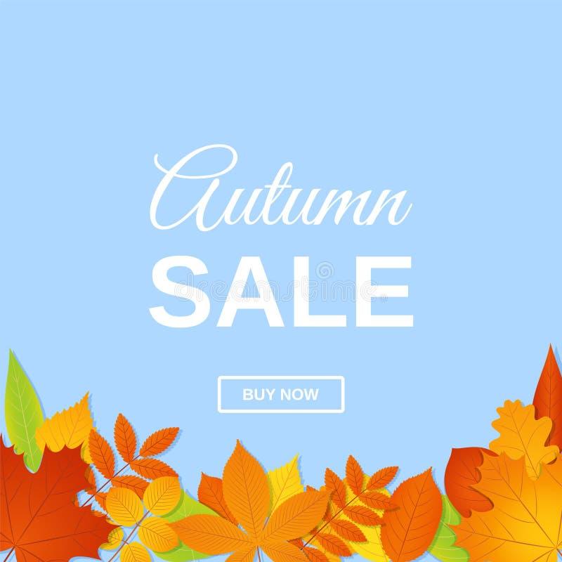 Herbstverkaufsfahne Auch im corel abgehobenen Betrag Plakatschablone mit Fa stock abbildung