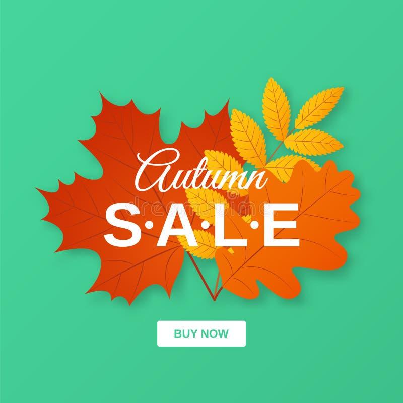 Herbstverkaufsfahne Auch im corel abgehobenen Betrag Plakatschablone mit Fa vektor abbildung