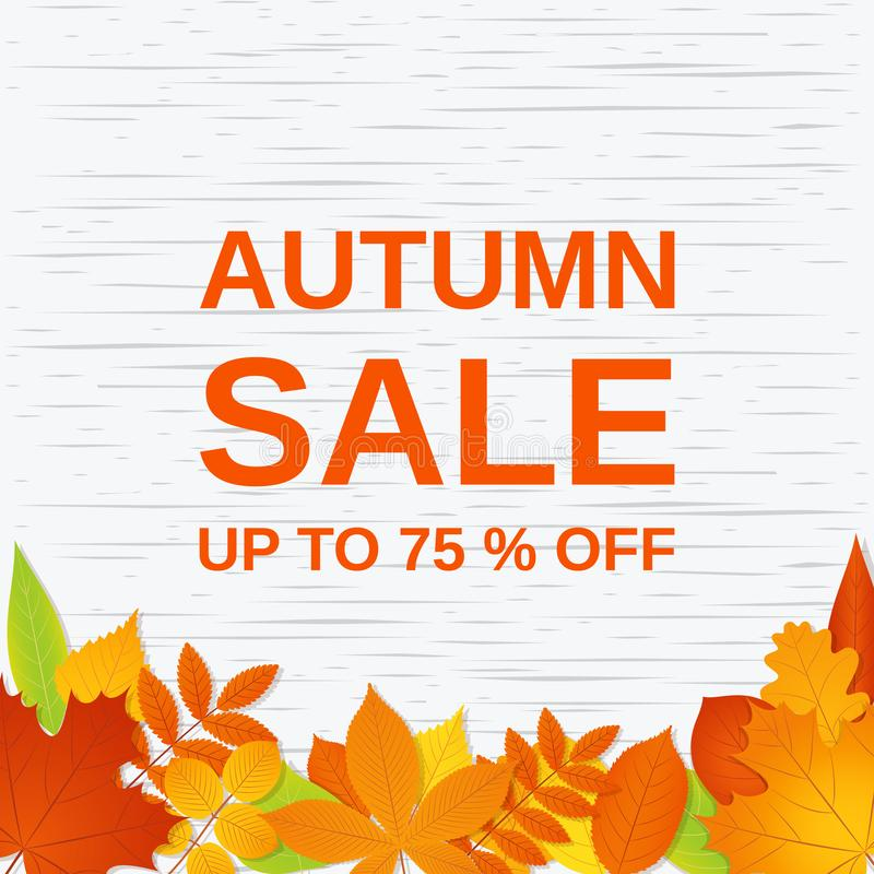 Herbstverkaufsfahne Auch im corel abgehobenen Betrag Plakatschablone mit Fa lizenzfreie abbildung