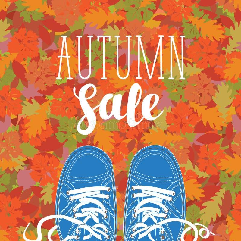 Herbstverkaufsfahne mit der Aufschrift und den Schuhen lizenzfreie abbildung