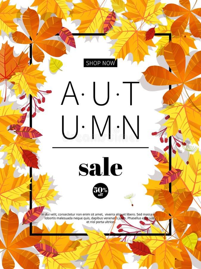 Herbstverkaufsfahnen für Netz oder Druck Herbstsaisonverkaufs- und -rabattfahne Bunter Herbstlaub Schlagzeile und Verkauf lizenzfreie abbildung